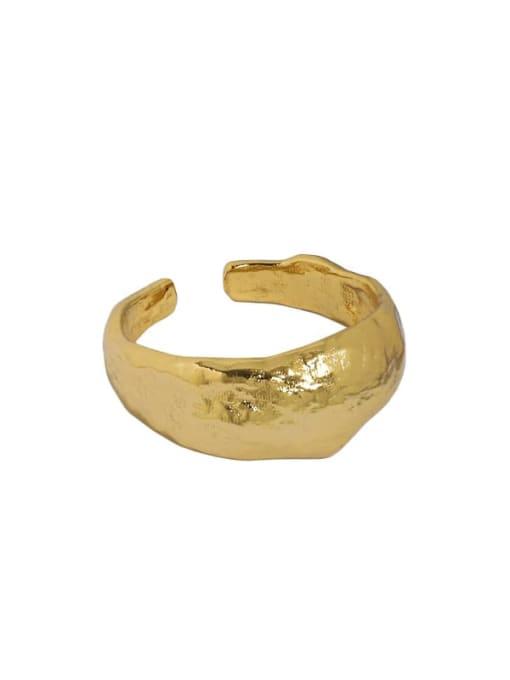 18K gold [13 adjustable] 925 Sterling Silver Smooth Irregular Vintage Band Ring